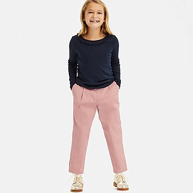 GIRLS ULTRA STRETCH RELAXED FIT ANKLE PANTS, PINK, medium