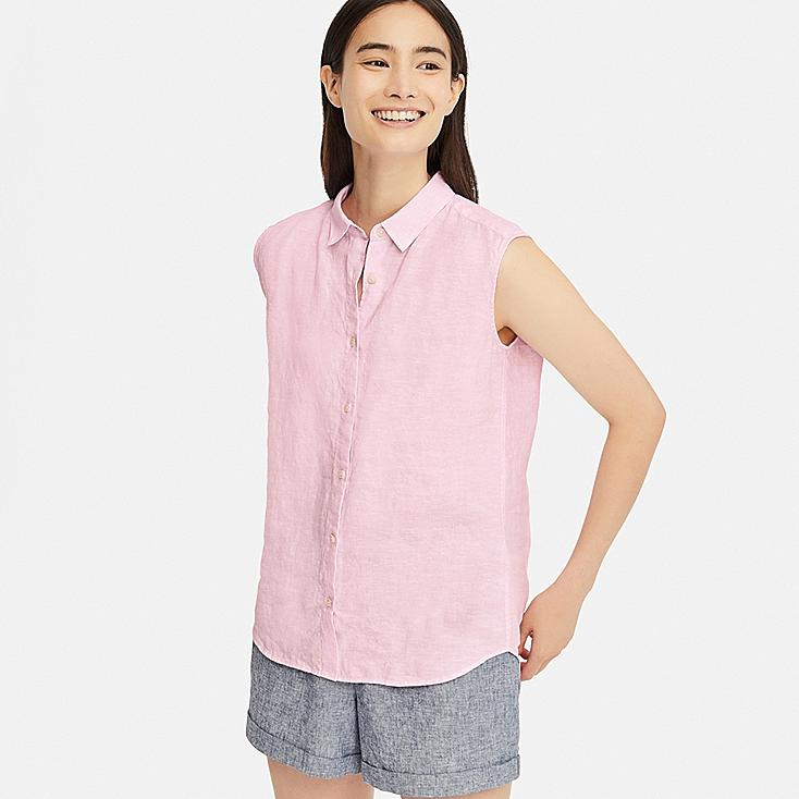 WOMEN PREMIUM LINEN SLEEVELESS SHIRT, PINK, large