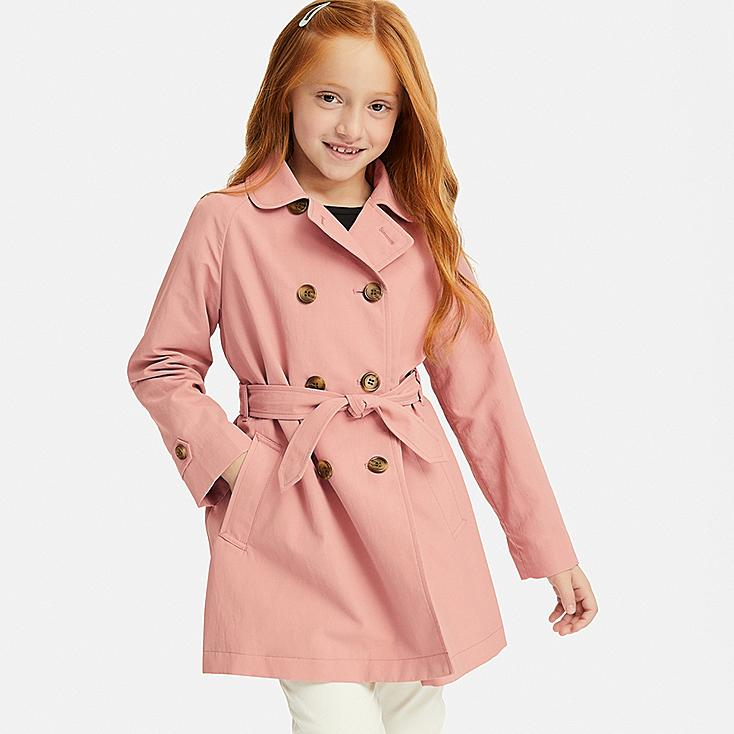 GIRLS TRENCH COAT, PINK, large