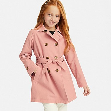 GIRLS TRENCH COAT, PINK, medium