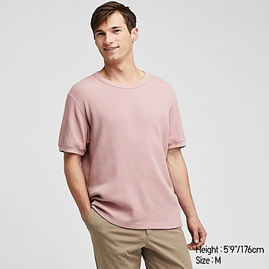 MEN WAFFLE KNIT CREW NECK SHORT SLEEVED T-SHIRT