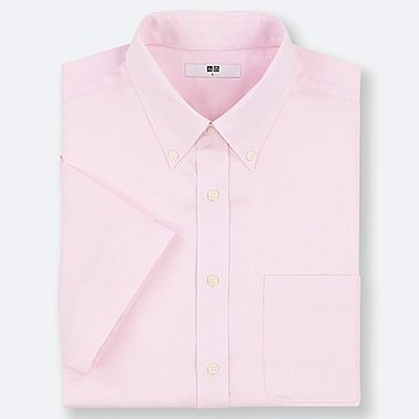 MEN DRY EASY CARE OXFORD SHORT-SLEEVE SHIRT (ONLINE EXCLUSIVE), PINK, medium