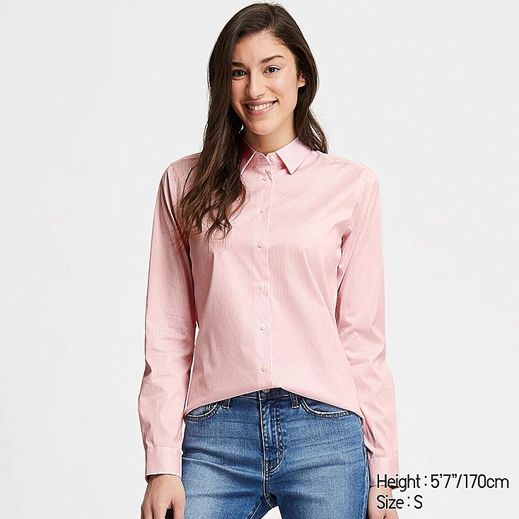 WOMEN SUPIMA® COTTON STRETCH STRIPED LONG-SLEEVE SHIRT, PINK, large