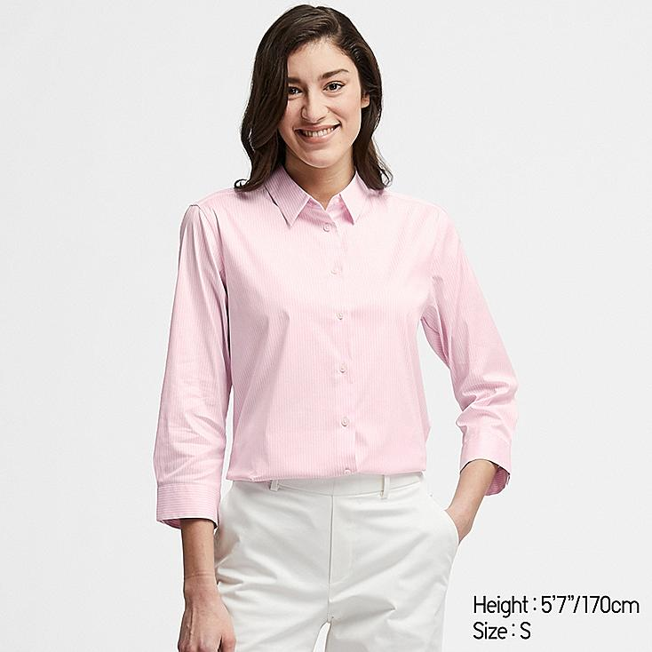 WOMEN SUPIMA® COTTON STRETCH STRIPED 3/4 SLEEVE SHIRT (ONLINE EXCLUSIVE), PINK, large