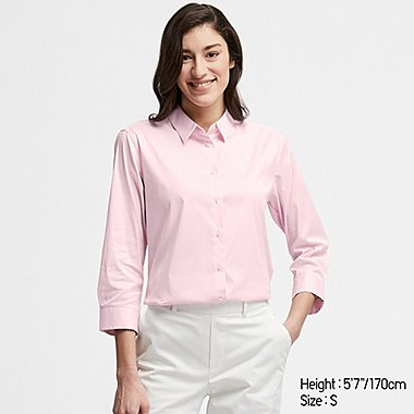 WOMEN SUPIMA® COTTON STRETCH STRIPED 3/4 SLEEVE SHIRT (ONLINE EXCLUSIVE), PINK, medium