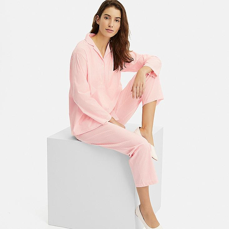 WOMEN SOFT STRETCH LONG-SLEEVE PAJAMAS, PINK, large