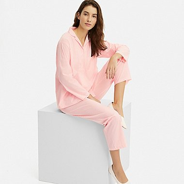 WOMEN SOFT STRETCH LONG-SLEEVE PAJAMAS, PINK, medium