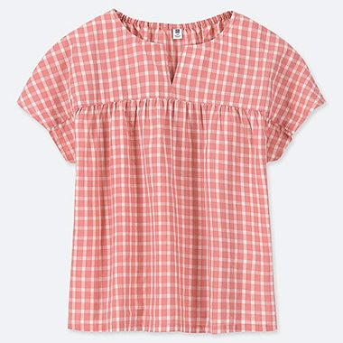 GIRLS CHECKED SHORT-SLEEVE BLOUSE, PINK, medium