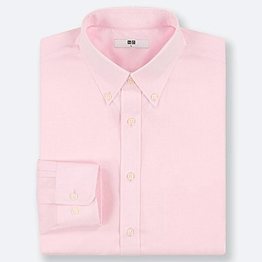 MEN EASY CARE DOBBY REGULAR-FIT LONG-SLEEVE SHIRT, PINK, medium