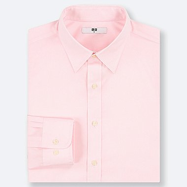 MEN EASY CARE STRIPED REGULAR-FIT LONG-SLEEVE SHIRT, PINK, medium