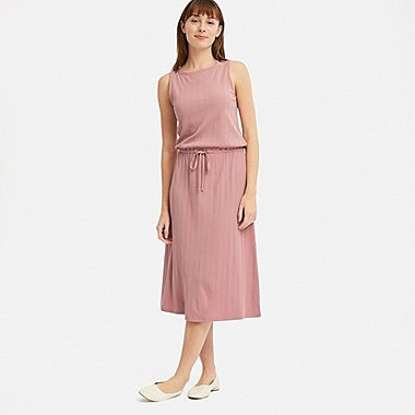 WOMEN SLEEVELESS RELAX DRESS (WITH PADDING), PINK, medium