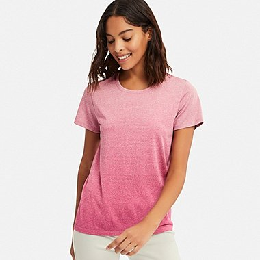 WOMEN DRY-EX CREW NECK SHORT-SLEEVE T-SHIRT, PINK, medium