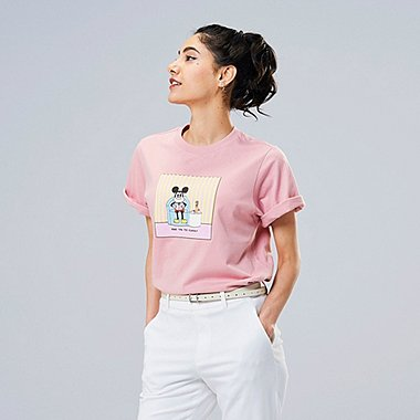 WOMEN MICKEY ART UT ESTHER KIM (SHORT-SLEEVE GRAPHIC T-SHIRT), PINK, medium