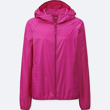 Womens Lightweight Packable Hooded Jacket, PINK, medium