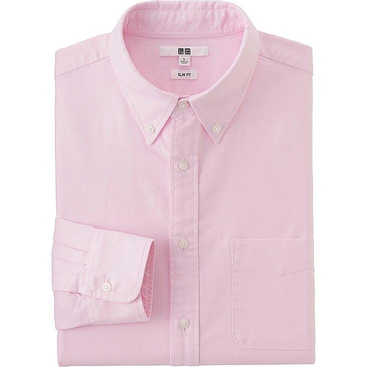 Men's Oxford Slim-Fit Long Sleeve Shirt, PINK, large