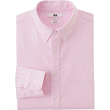 Mens Oxford Slim-Fit Long Sleeve Shirt, PINK, medium
