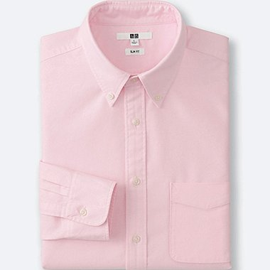 Mens Oxford Slim-Fit Long Sleeve Shirt, PINK, medium
