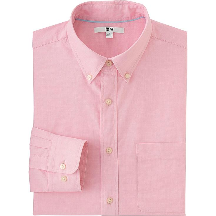 MEN EXTRA FINE COTTON BROADCLOTH LONG SLEEVE SHIRT, PINK, large
