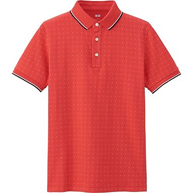 MENS DRY PIQUE MICRO DOT PRINTED POLO SHIRT, PINK, medium