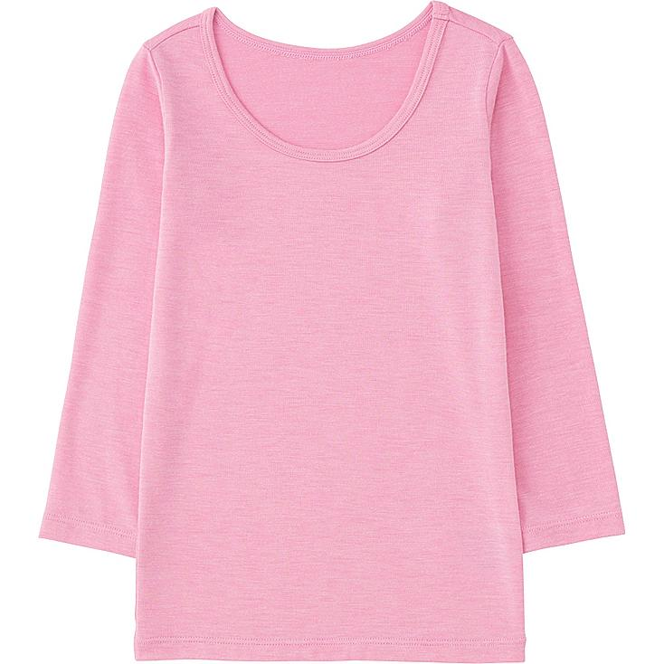 TODDLER HEATTECH U-NECK LONG SLEEVE T-SHIRT, PINK, large