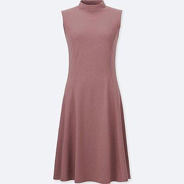 WOMEN FIT AND FLARE SLEEVELESS DRESS, PINK, medium