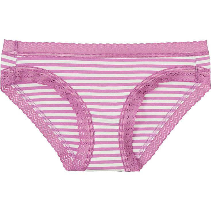 Women Striped Bikini Cut Underwear, PINK, large