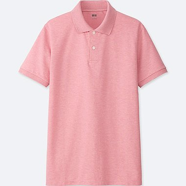 MEN DRY PIQUE SHORT SLEEVE POLO SHIRT, PINK, medium