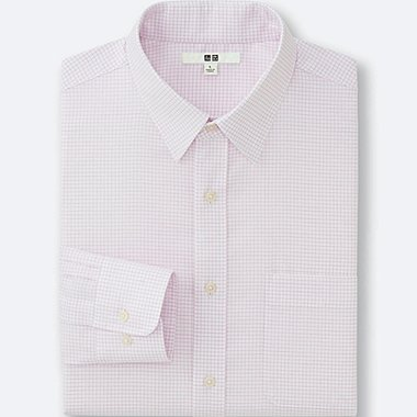 MEN EASY CARE CHECKED LONG SLEEVE SHIRT, PINK, medium