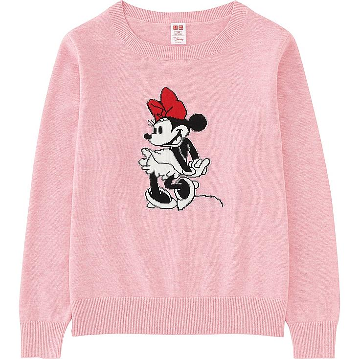KIDS DISNEY COLLECTION CREW NECK LONG SLEEVE SWEATER, PINK, large