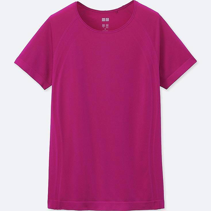 WOMEN AIRism SEAMLESS SHORT SLEEVE T, PINK, large
