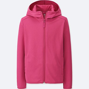 KIDS DRY EX FULL-ZIP LONG-SLEEVE HOODIE, PINK, medium