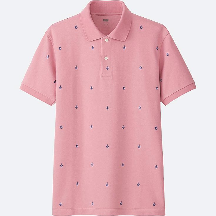 MEN DRY PIQUE PRINTED SHORT-SLEEVE POLO SHIRT, PINK, large