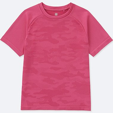 KIDS DRY EX CREWNECK SHORT-SLEEVE T-SHIRT, PINK, medium