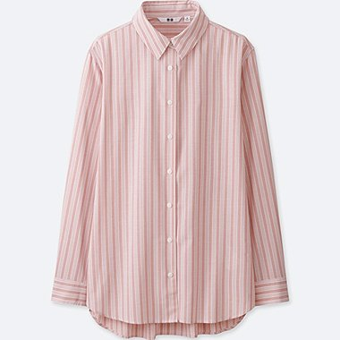 WOMEN RAYON STRIPED LONG SLEEVE, PINK, medium