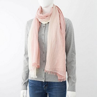 COTTON LINEN STOLE (GRADATION), PINK, medium