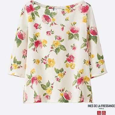WOMEN INES Linen Cotton 3/4 Sleeve Blouse