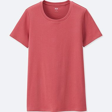 WOMEN SUPIMA® COTTON CREW NECK SHORT-SLEEVE T-SHIRT, PINK, medium