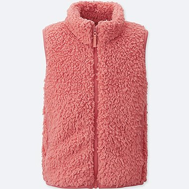 KIDS FLUFFY FLEECE VEST, PINK, medium