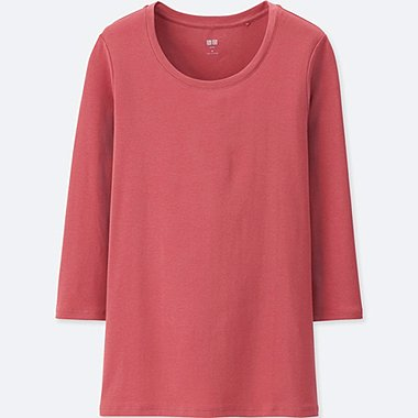 WOMEN SUPIMA COTTON CREW NECK 3/4 SLEEVE T-SHIRT