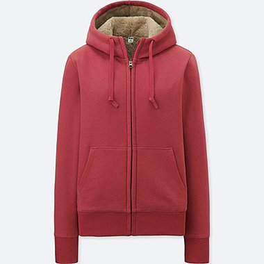 WOMEN PILE LINED SWEAT LONG SLEEVE FULL-ZIP HOODIE