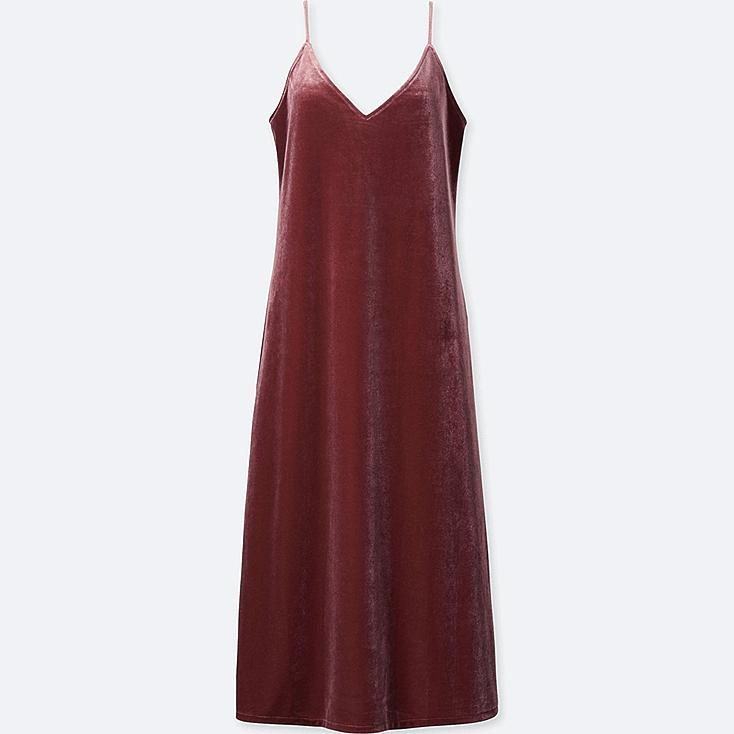 WOMEN VELOUR CAMISOLE DRESS, PINK, large