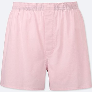 MEN WOVEN LIGHT OXFORD BOXERS, PINK, medium
