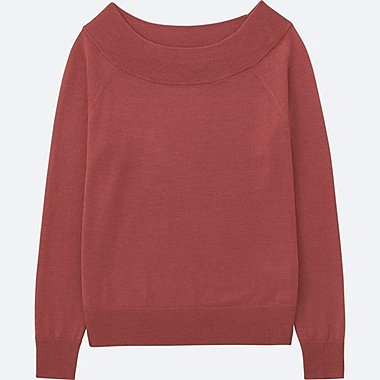 WOMEN EXTRA FINE MERINO BOAT NECK SWEATER