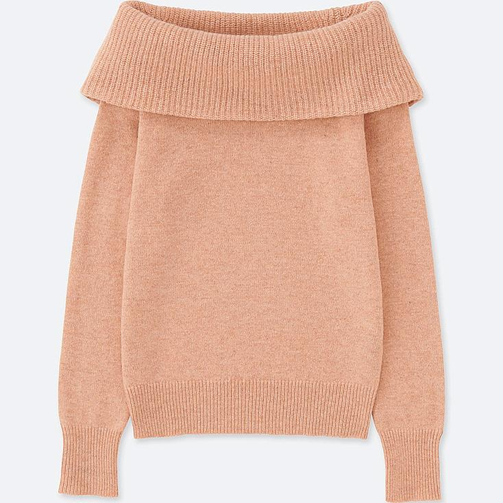 WOMEN LAMBSWOOL BLEND COWLNECK SWEATER, PINK, large