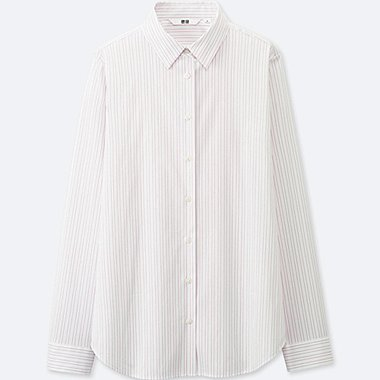 WOMEN SUPIMA COTTON STRETCH STRIPED LONG SLEEVE SHIRT