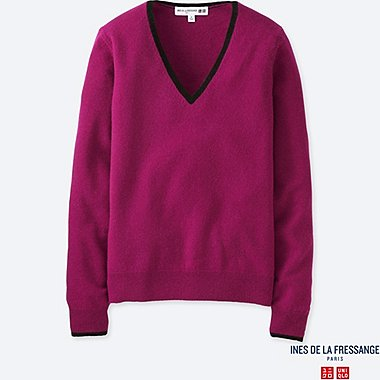 WOMEN IDLF CASHMERE V-NECK SWEATER, PINK, medium