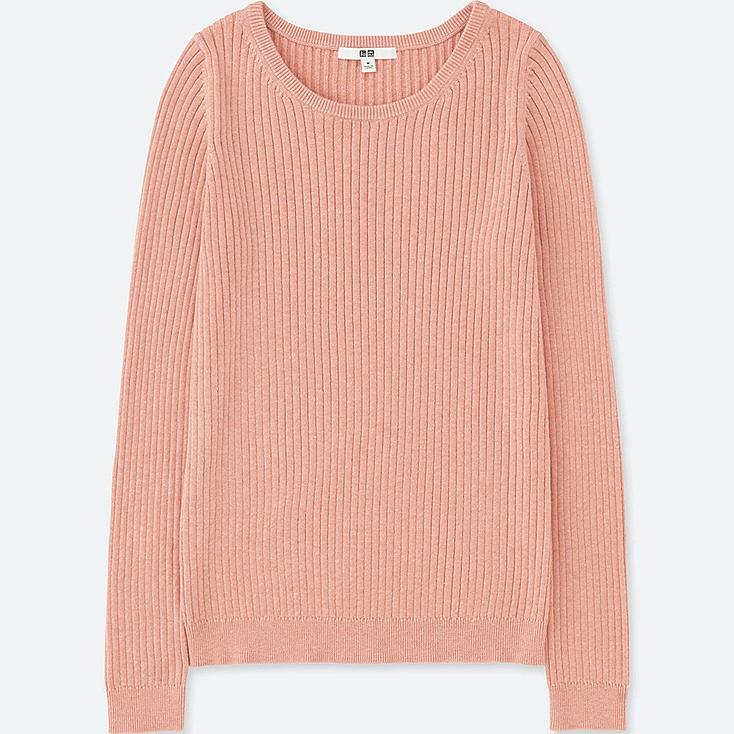 WOMEN COTTON CASHMERE RIBBED SWEATER, PINK, large