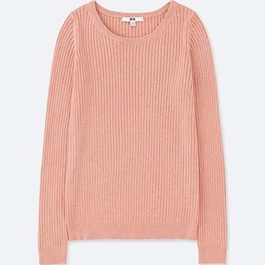 WOMEN COTTON CASHMERE RIBBED CREW NECK SWEATER