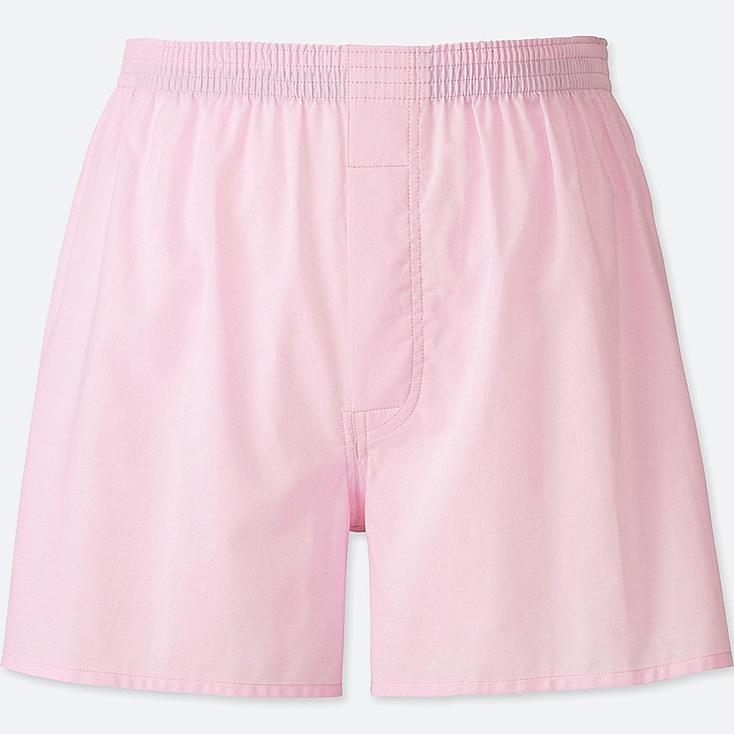 MEN WOVEN LIGHT OXFORD BOXERS, PINK, large