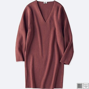 WOMEN UNIQLO U MERINO BLEND V NECK LONG SLEEVE DRESS